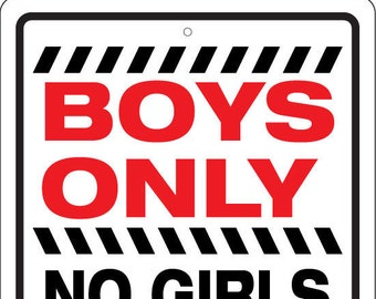 Boys Only No Girls No Pink No Drama - Large 12x18 Aluminum Sign