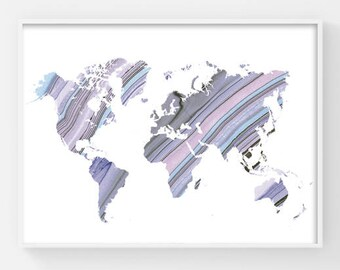 World Map Poster, Printable World Map, World Atlas Map, Map of the World, Boho Chic Style, Pastel Colors Marble Texture, Gift for Travelers