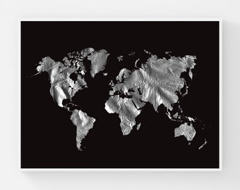 Black And White World Map Poster Flying Bird Wall Art Etsy