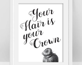 Hair Salon Decor Curly Hair Quotes Bad Hair Day Funny Quote Etsy