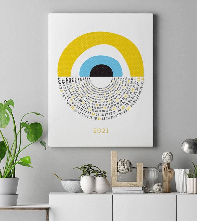 Wall Calendar 2021 Yearly Calendar 2021 Yellow Greek Evil Eye Print Large Wall Calendar Downloadable Poster 2021 Calendar Nazar Wall Art