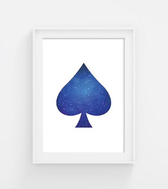 Ace Of Spades Spade Symbol Printable Blue Watercolor Texture Etsy