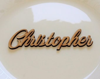 Laser cut names, Place card names for table seating, Guest name, 3D calligraphy, Table place,  Handwriting style, Wooden place cards