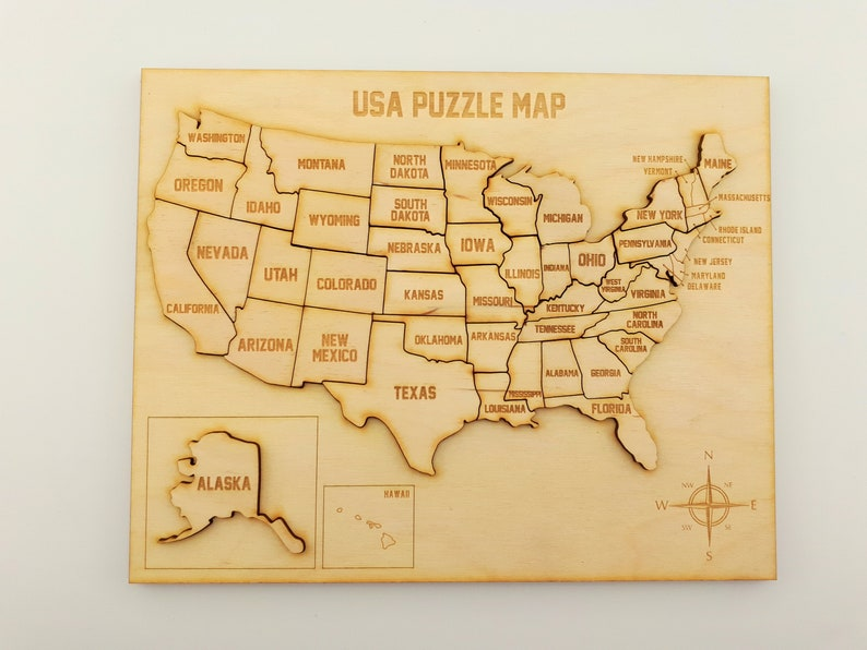 United States wooden map puzzle USA wooden puzzle map 50 | Etsy