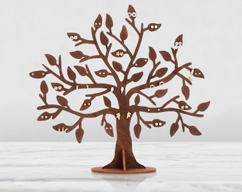 Leafy tree, Jewelry tree, Earring holder, Wooden jewelry tree, Jewelry stand, Gift for any woman, Wooden jewelry organizer