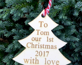 our first christmas 2018 personalised rustic wooden christmas present tag