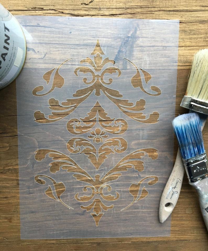 Vintage Damask Design Stencil for walls furniture or craft image 1