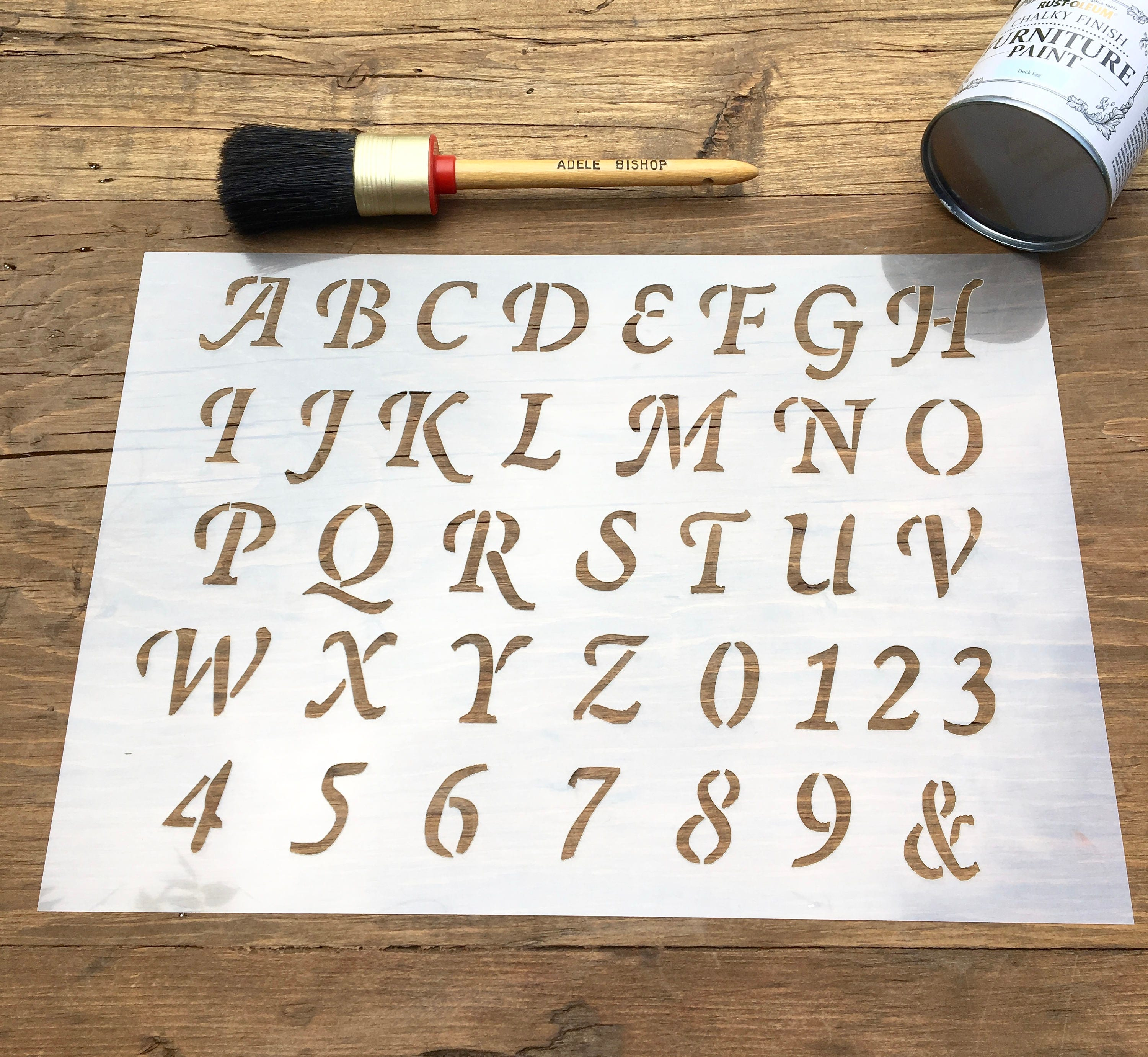 Old English Capital Letters A Z Stencil For Walls Furniture Or Etsy