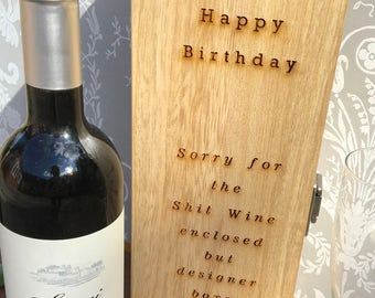 Birthday Wine Box, Birthday Gift, Gift for Wine Lover, Personalised Birthday, Funny Birthday Gift, Personalised Gift, Personalised Wine Gift