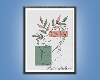 Cross stitch pattern Antique Woman Sculpture modern embroidery Minimalist pattern counted cross stitch pdf instant download