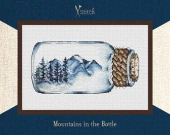Mountains in the Bottle. Cross stitch kit. Modern Embroidery, Counted Cross Stitch, DIY