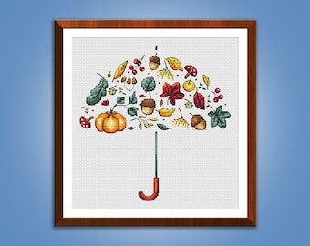 CHARITY! Cross stitch pattern Autumn Harvest Umbrella cross stitch pattern modern embroidery chart counted cross stitch pdf instant download