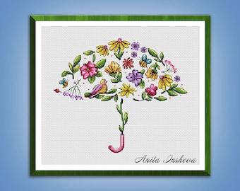 Cross stitch pattern Summer Umbrella modern embroidery Cute pattern counted cross stitch pdf instant download