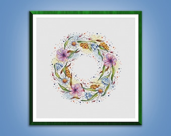 Cross stitch pattern The Summer Wreath cross stitch Flowers pattern Embroidery chart pdf instant download
