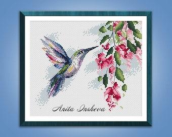 Cross stitch pattern The Hummingbird Bird cross stitch pattern modern embroidery chart counted cross stitch pdf instant download