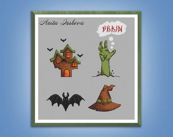 Cross stitch pattern Halloween sampler modern embroidery Scary easy pattern counted cross stitch pdf instant download