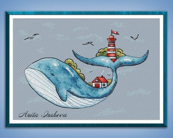 Cross stitch pattern Lighthouse Keeper cross stitch pattern modern embroidery Whale chart counted cross stitch pdf instant download