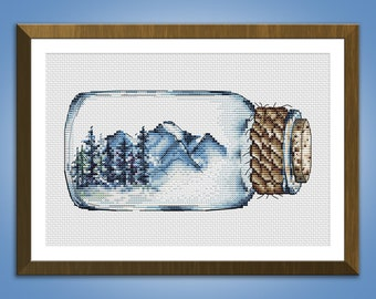 Cross stitch pattern Mountains in the Bottle Nature pattern modern embroidery chart counted cross stitch pdf instant download
