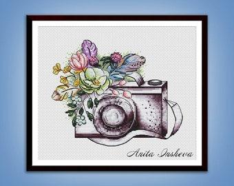 Cross stitch pattern Capture the Moment cross stitch pattern modern embroidery Camera chart counted cross stitch pdf instant download