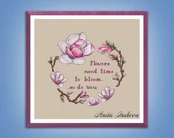 Cross stitch pattern The Wreath of Magnolias cross stitch pattern modern embroidery Flower chart counted cross stitch pdf instant download