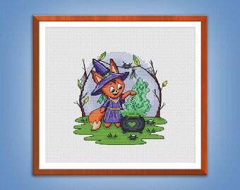 Cross stitch pattern The little Fox Potion cross stitch Fox pattern Halloween Embroidery chart pdf instant download