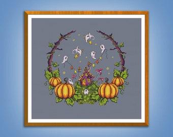 Cross stitch pattern The Haunted House cross stitch Halloween pattern Embroidery chart pdf instant download