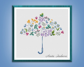 Cross stitch pattern Spring Umbrella modern embroidery Cute pattern counted cross stitch pdf instant download