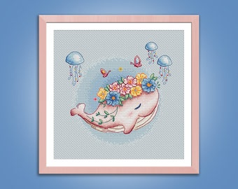 Cross stitch pattern Pink Dreams Whale cross stitch pattern modern embroidery chart counted cross stitch pdf instant download