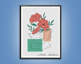 Cross stitch pattern Antique Sculpture modern embroidery Minimalist pattern counted cross stitch pdf instant download