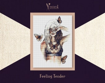 Feeling Tender. Cross stitch kit. Modern Embroidery, Counted Cross Stitch, DIY