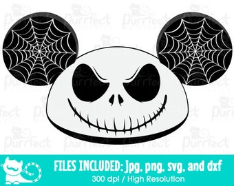 ec5f9a81525 Jack Skellington Mickey Mouse Ears Hat SVG