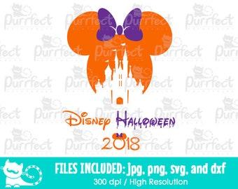 minnie halloween castle 2018 svg disney halloween castle svg disney digital cut files in svg dxf png and jpg printable clipart