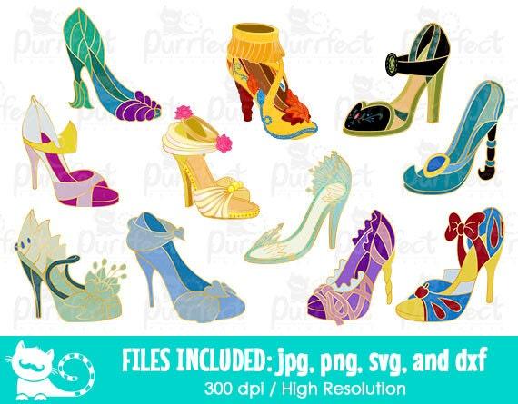 b6973aba1b350 Disney Princess chaussures Bundle Pack SVG SVG de Pins Disney