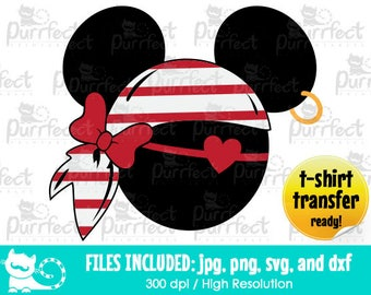 Minnie Mouse Cute Pirate Girl Ver 2 SVG, Digital Cut Files in svg, dxf, png and jpg, Printable Clipart