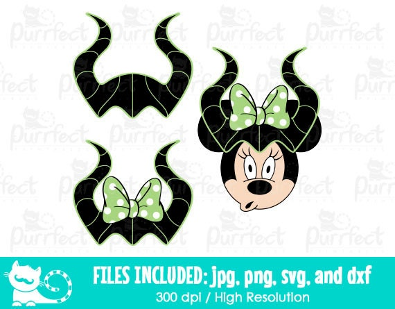 Disney Maleficent Horns Svg Minnie Halloween Maleficent Horns Svg Disney Digital Cut Files In Svg Dxf Png And Jpg Printable Clipart