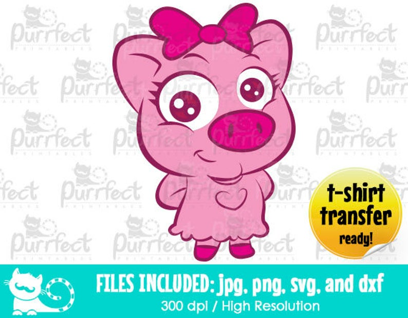 Porky Character Design SVG, Digital Cut Files in svg, dxf, png and jpg,  Printable Clipart