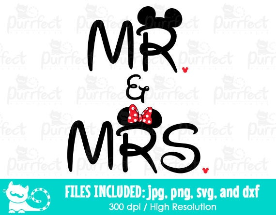 Mickey And Minnie Mr And Mrs Svg Mickey And Minnie Couple Svg Disney Digital Cut Files In Svg Dxf Png And Jpg Printable Clipart