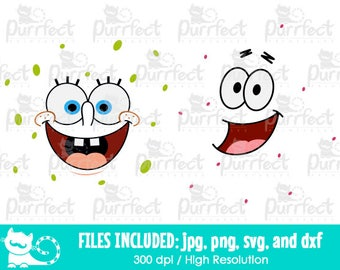 Spongebob and Patrick Face SVG, Digital Cut Files in svg, dxf, png and jpg, Printable Clipart
