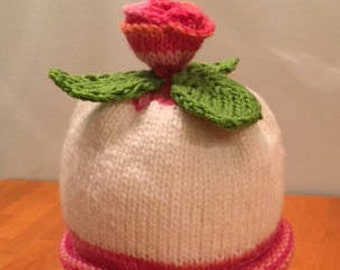 Bright Pink Rosebud Baby Hat