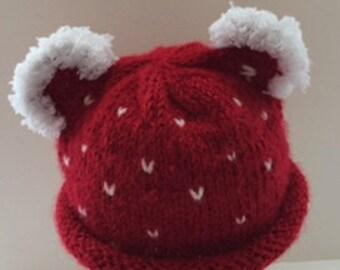 Valentine Bear  Baby Hat