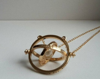 """""""time machine"""" gold necklace"""