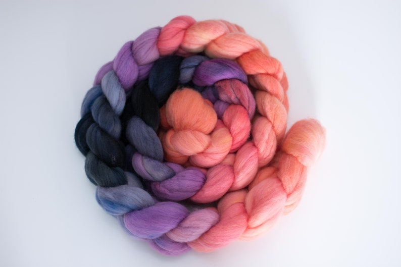 Monsoon Sunset Hand Dyed Polwarth Top 6 oz image 0