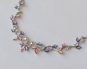 Necklace - strass necklace - Princess necklace - pink and purple