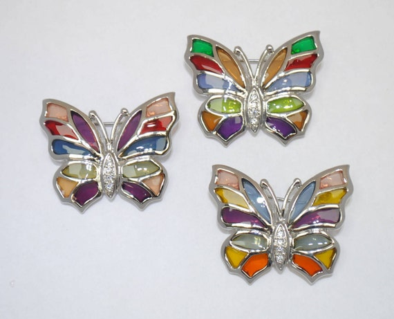 stained glass summer woman brooch rhinestones colorful epoxy vintage brooch Butterfly brooch epoxy