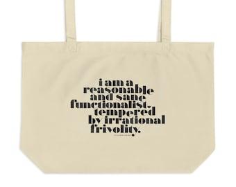 Irrational Frivolity | Large organic tote bag