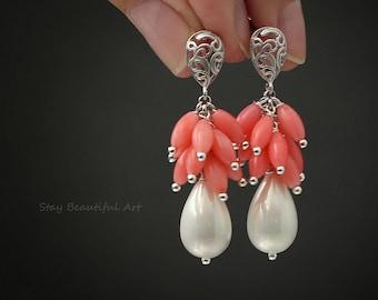 Pearl Cluster Earrings White Pearl Earrings Drop Pearl Jewelry Art Nouveau Earrings Festival Earrings Artisan Earrings Coral Earrings
