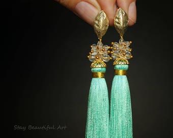 Tassel Earrings Bridal Earrings Bridesmaid Earrings Wedding Earrings Long Earrings Tassels Fringe Earrings Blue Earrings Cluster Earrings