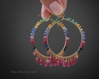 Preсious Gemstone Earrings Sapphire Earrings Tourmaline Earrings Hoop Earrings Gold Hoops Large Hoops Statement Earrings Gemstone Hoops
