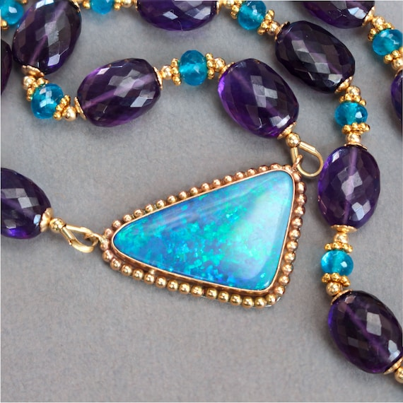 Opal and Neon Blue Apatite pendant
