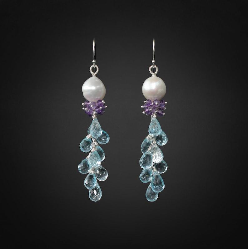 Blue Topaz Earrings Amethyst Earrings Pearl Earrings Silver image 1